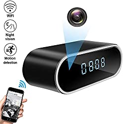 Spy Hidden Camera, WHDSWL Alarm Clock 1080P Security Nanny Wi-Fi Camera, with Night Vision/Motion Detection/Loop Recording Office Home Support iOS/Android/PC Remote Real-time Video