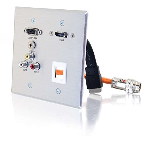 Hd15 Wall Plate - C2G/Cables to Go 60116 RR AL WP HD15+3.5+3RCA+1KS+HDMI for RapidRun Multi-Format Runner Cables