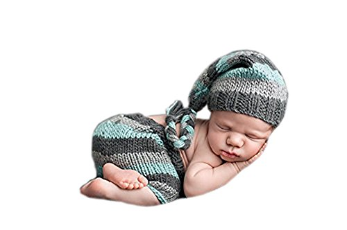 Pinbo® Newborn Baby Photography Prop Crochet Knitted Crochet Costume Streped Hat Pants]()