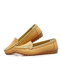 XIADE Mocasines de Cuero para Mujer Zapatos Planos Suaves Transpirables Zapatos de conducción Casuales de Moda Color sólido Un Pedal Zapatos Perezosos,Yellow,36