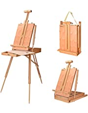 French Art Easel, LIVINGbasics Portable Wooden Easel Stand with 12 Inch Drawer, Includes Wooden Pallete, Sketch Box, Shoulder Strap, Fit for Field Painting and Drawing
