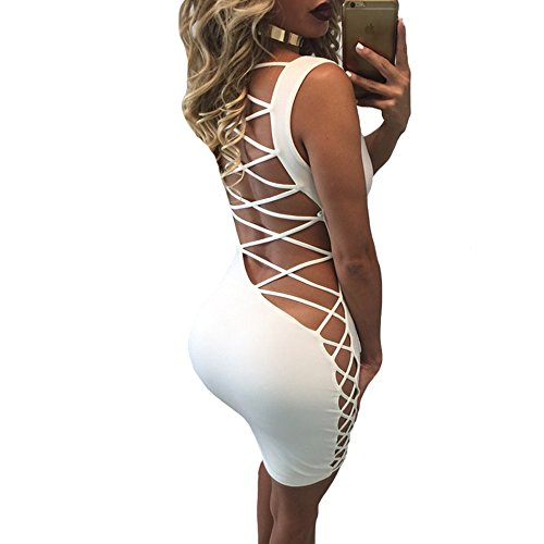 VANCOL Women's Hollow Lace Up Sexy Mini Bandage Bodycon Party Night Club Dress (M, White)