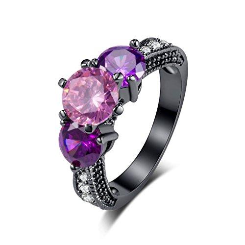 YAZILIND moda joyería 3 rosa zirconia negro chapado en oro anillos para mujeres tamaño 5,25