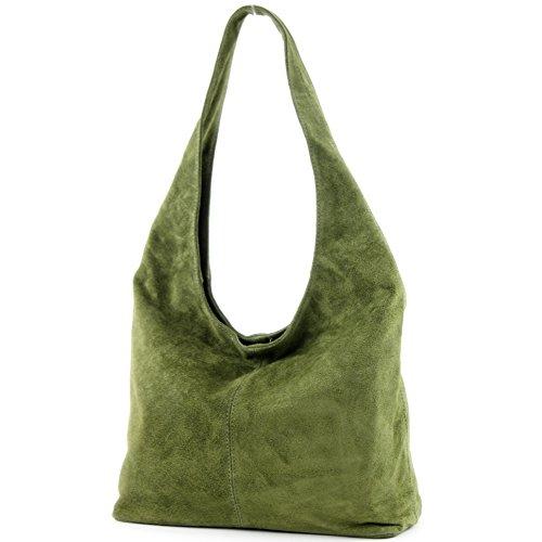 Modamoda de - ital Sac à bandoulière en cuir Sac à bandoulière Damentasche Wildleder T150 Olivgrün