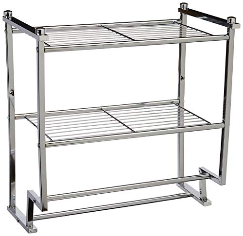 Organize It All Chrome 2 Tier Wall Mounting Bathroom Rack with Towel Bars (Renewed)