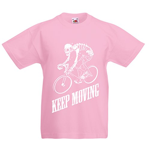 lepni.me T Shirts For Kids Motivational Quotes - The Life Is Like Riding a Bicycle. To Keep Your Balance, You Must Keep Moving. (12-13 Years Pink Multi (Handyman Snacks)
