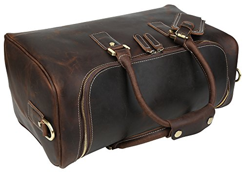 Polare Real Leather Vintage Travel Luggage Duffle Bag /Gym Bag/ Overnight bag by Polare (Image #3)