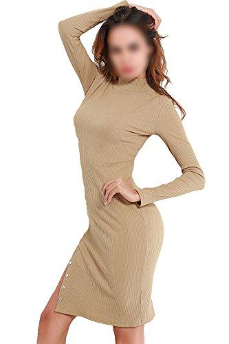 La Mujer Casual Cuello Alto Embudo Bodycon Vestido Mini Split Slim Pull Over Beige