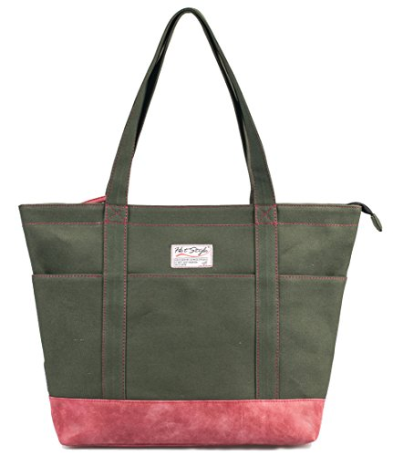 Multi Pocket Laptop Tote (AMY Womens Large Canvas Tote Bag for Work Teachers Nurses | with 12-inch Computer Compartment | Green/Red)