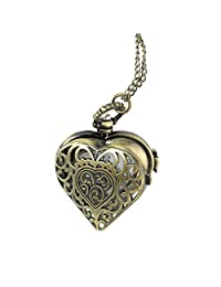 NICERIO Pocket Watch,Men Women Hollow Heart Shaped Dial Arabic Numeral Pocket Watch with Chain