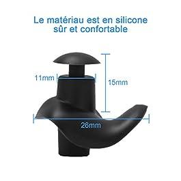 ZITFRI 3 Paires Bouchons d'oreilles de Natation Bouchon Oreille Piscine en Silicone Réutilisables pour Natation Douche…