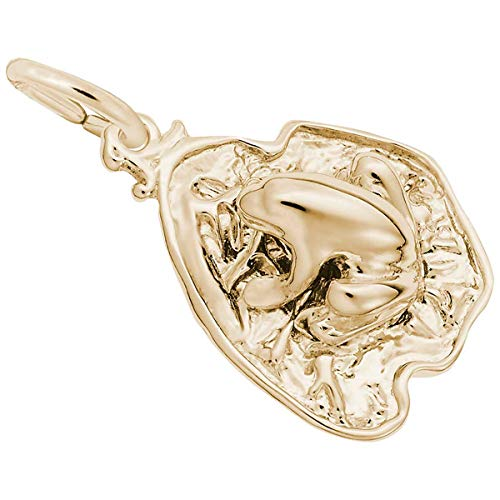 Rembrandt Charms Frog on Lily Pad Charm, 10K Yellow - Charm Frog Rembrandt
