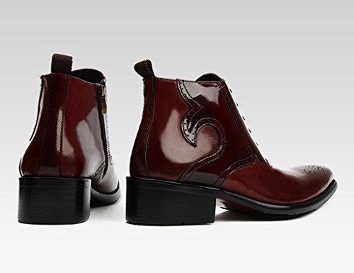 HWF Scarpe Uomo in Pelle Scarpe da uomo in pelle Stivali corti alti Stivali a punta Martin Stivali stile britannico (Colore : Nero, dimensioni : EU42/UK7.5) Vino Rosso