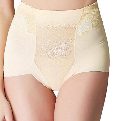 Encajes Mujer Impreso Cintura Alta Triángulo Levante Las Caderas Consejo De La Escultura Atractivas Salud Suaves Bragas Yellow