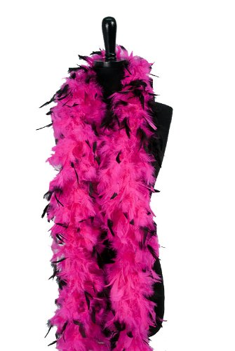 WGI 6' 60g Adult Feather Boa,Hot Pink/Blk Tips