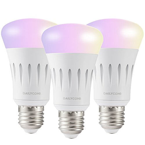DAILYCOMB E27 Wi-Fi Smart Light Bulb, A19 LED, Dimmable Multicolor,No Hub Required, Free APP and Voice Control, Compatible with Amazon Alexa and Google Assistant(3 Pack)