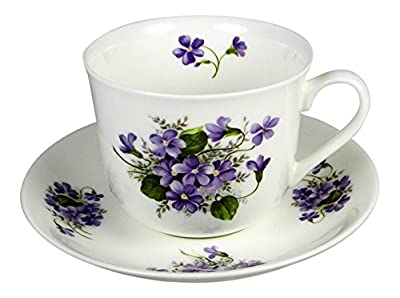 Adderley Breakfast Tea Cup and Saucer Set Fine Bone China Wild Violets England
