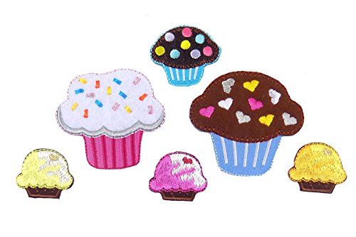 Cupcakes Embroidered Iron On Appliques Pack of -