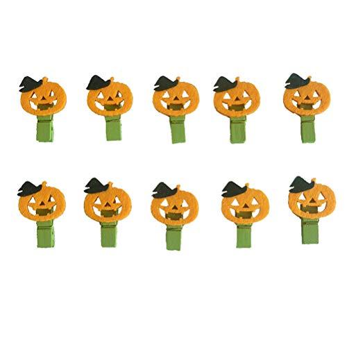 Amosfun 10Pcs Pumpkin Wooden Clips Halloween Pumpkin Pictures Memo Holders Note Card Message Postcard Pegs ()