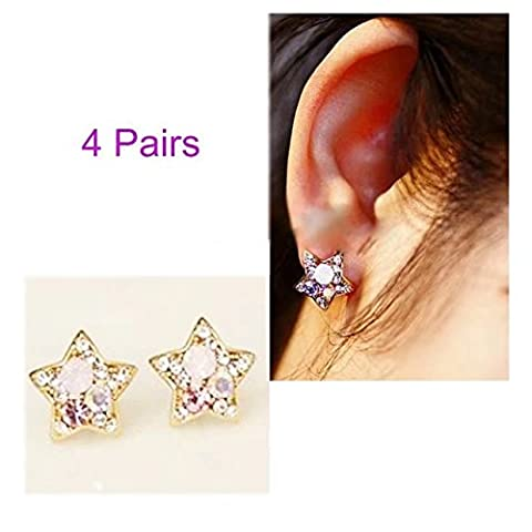 Garrelett Crystal Earrings, 4 Pairs Women Lady Elegant Colorful Diamond Rhinestone Star Ear Studs Wedding Jewelry Earrings for Daily - Designers Waterford Crystal