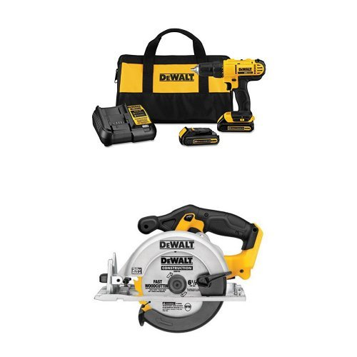 Dewalt DCD771C2 20V MAX Cordless Lithium-Ion 1 2 inch Compact Drill Driver Kit with DCS391B 20-Volt MAX Li-Ion Circular Saw