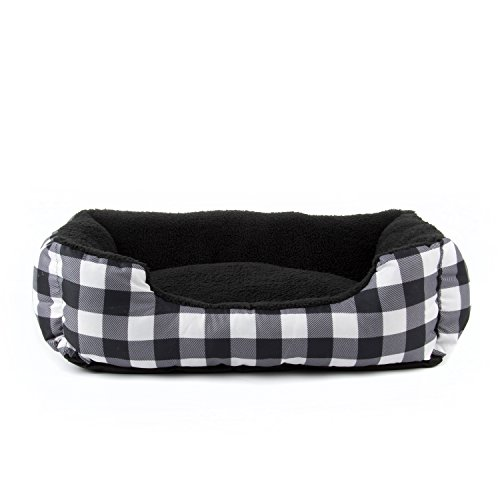 19.7x16.14x6.3 inch, Hollypet Plush Dog Bed Rectangle Warm Pet Bed, Creative Pattern Design