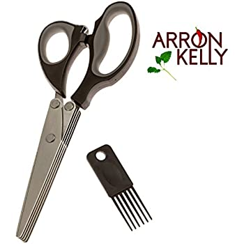 Arron Kelly Culinary Herb Scissors & Cleaning Comb – 2 Piece Kitchen & Gift Set - Black, Grey & Stainless Steel Chopping Shears