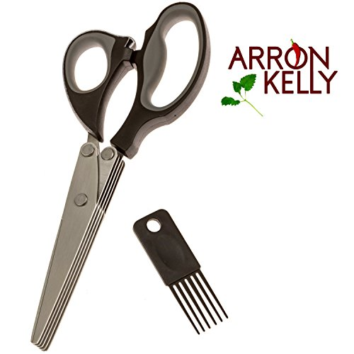 Arron Kelly Culinary Herb Scissors & Cleaning Comb – 2 Piece Kitchen & Gift Set - Black, Grey & Stainless Steel Chopping Shears Herb Shears