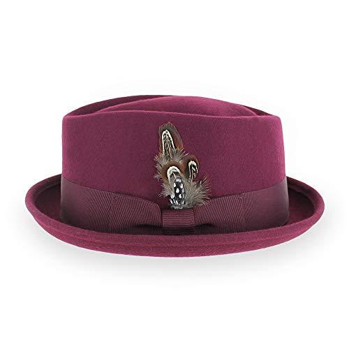 (Belfry Crushable Porkpie Fedora Hat Men's Vintage Style 100% Pure Wool in Black Brown Grey Navy Pecan and Striped Band (XLarge, Burgundy))