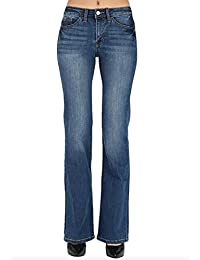 KAN CAN Kancan Womens Classic Medium Wash Mid Rise Boot Cut Jeans (1, Medium