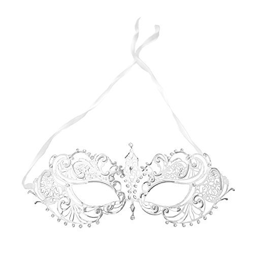 Women's Laser Cut Metal Venetian Pretty Masquerade Ball Party Mask Costume Accessory (Silver) -