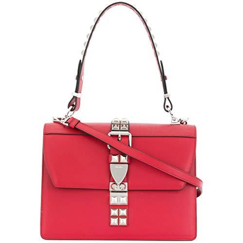 Prada Elektra Red Calfskin Saffiano Leather Studded Crossbody Bag 1BA179