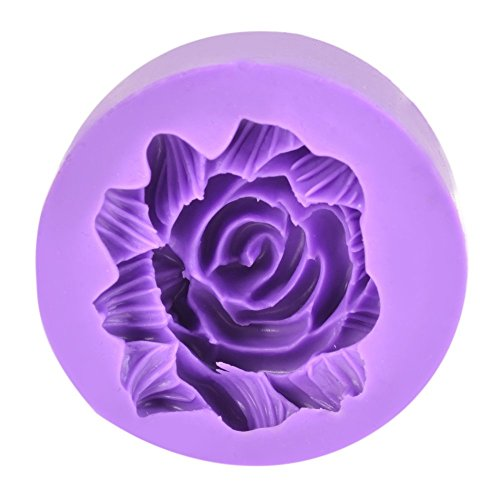 1PC Silicone 3D Floral Round Mold Fondant Cake Decoration DIY Mould Chocolate Cookie Purple/ (Homemade 3d Halloween Decorations)