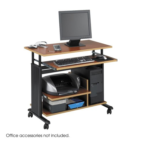 Safco 1927CY Adjustable Height Mini-Tower Workstation 35-1/2 x 22d x 34h Cherry/Black