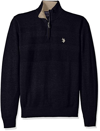 Navy 1/4 Zip Sweater (U.S. Polo Assn. Men's Textured Chest 1/4 Zip Sweater, Navy,)