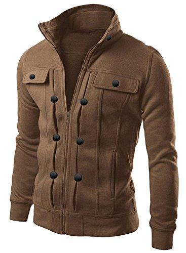 Azbro-Mens-Highneck-Zip-Up-Cool-Military-Jacket