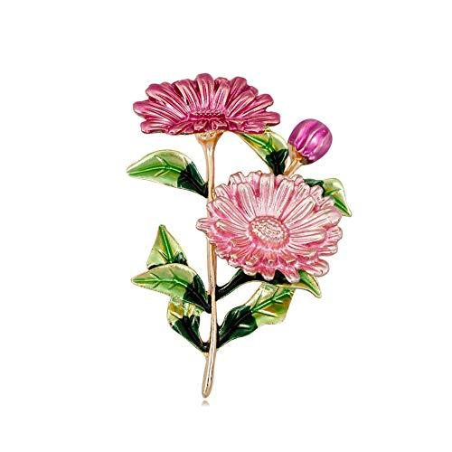 Gold and Pink Enamel Gerbera Daisy Flower Pin