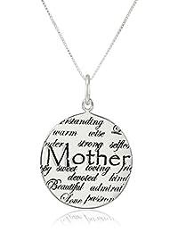 "Sterling Silver""Mom"" Circle Graffiti Pendant Necklace, 18"""
