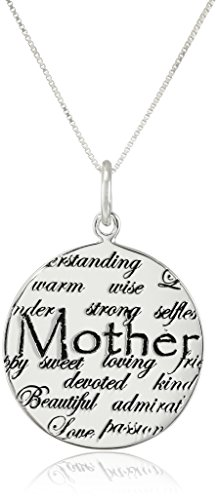 "Sterling Silver ""Mom"" Circle Graffiti Pendant Necklace, 18"""