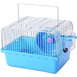 Petzilla Basic Hamster Cage Habitat, Travel Carrier for Small Animal (Small, Blue)