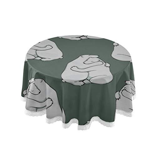 Mantel, 60 pulgadas ronda Vector patron transparente abrazando osos polares Cubierta de mesa Impresion Mantel lavable comedor decorativo para vacaciones casa fiesta de Navidad Picnic 60 pulgadas