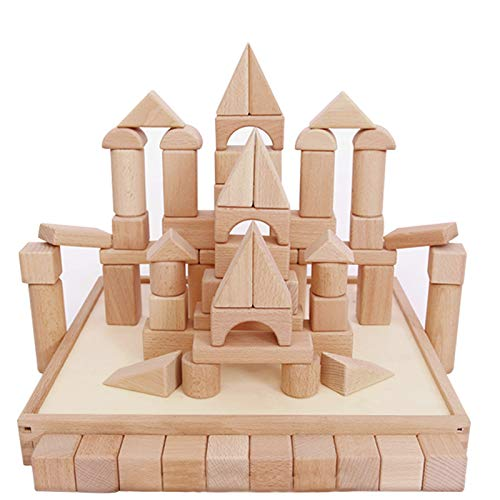 iPlay, iLearn Kids Wooden Building Block Set, 72 PCS Wood Castle Blocks Kit, Natural Wooden Stacking Cubes, Educational Montessori Toy for Age 3, 4, 5 Year Olds Up, Children, Preschoolers, Boys, Girls]()