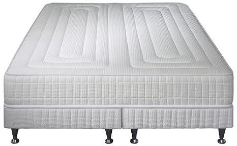 Simmons Praga Juego de colchón + somier + pie, Blanco, 1 matelas 160 x 200 + 2 sommiers 80 x 200: Amazon.es: Hogar