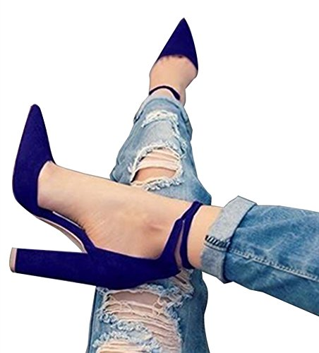 Women Ankle Pointed Toe Sandals High Heels Shoes (Blue) - 3