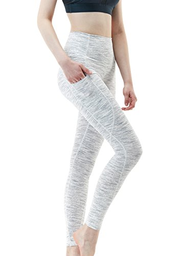 TSLA Yoga Pants Mid-Waist/High-Waist Tummy Control w Side/Hidden Pocket Series, Pocket Thick Contour(fyp54) - Spacedyewhite, Large (Size 10-12_Hip41-43 Inch)