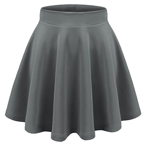Aenlley Womens Basic Shirts Stretchy Short Pleated Circle Flared Skater Skirt Color Grey Size L (Short Gray Skirt)