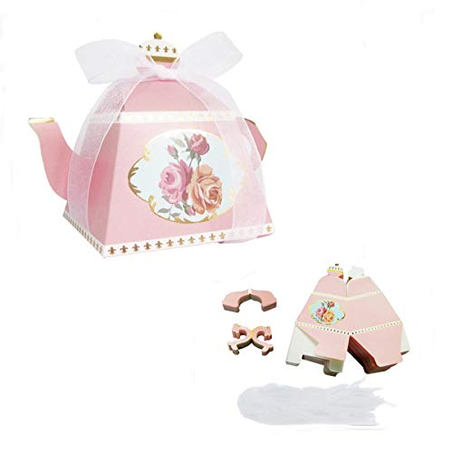 (E-Goal 50PCS/Pack Mini Teapot Shape Wedding Favors Candy Boxes Gift Box Party Favor Boxes with Ribbons for Wedding, Party Decorations, Pink)
