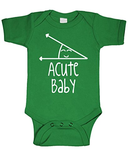 ACUTE BABY - math humor angle obtuse - Cotton Infant Bodysuit, 6m, (Acute Girl)