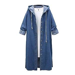 Coat for Women, Clearance Sale! Pervobs Women Denim Jacket Casual Long Sleeve Hooded Long Coat Outwear Overcoat