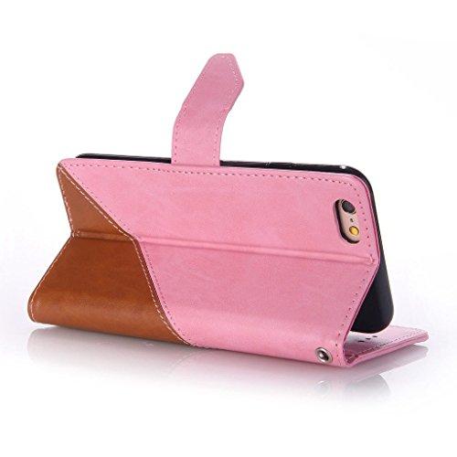 Uming® Patrón Especial de la serie de impresión colorida caja de la PU de la pistolera Caso Holster case ( Hit color Beige & Brown - para IPhone 6 6S IPhone6S IPhone6 ) de cuero artificial del tirón c Hit color Pink & Brown
